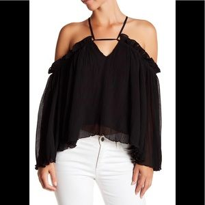 NWT Gracia Pleat Ruffle Off Shoulder Blouse top
